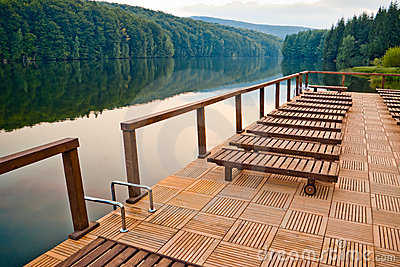 Lake dock and chairs