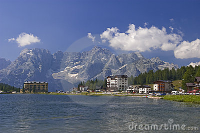 Lake in dolomite alps italy