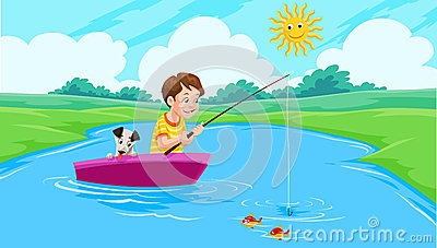 Lake Fishing, illustration