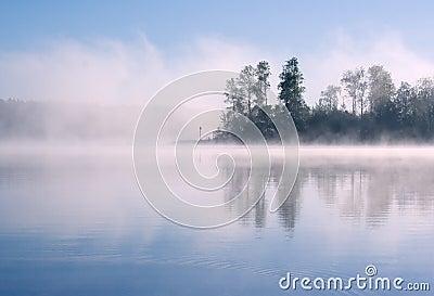 Lake Seliger: forest fog