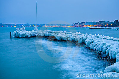 Lake Geneva Frozen Icy Jetty Editorial Photo