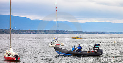 Lake Geneva Marine Police Editorial Stock Image