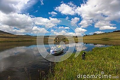 Lake Girl Dog Canoe Mirror
