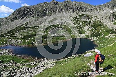 Lake and hiker