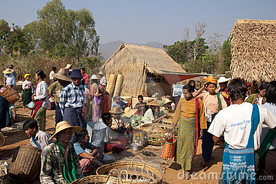 Lake Inle, MYANMAR - Friday Market Editorial Stock Photo