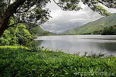 Lake at Kylemore Abbey Castle, Galway, Ireland Editorial Stock Image