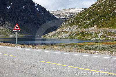 Lake landscape with scenic road and moose sign