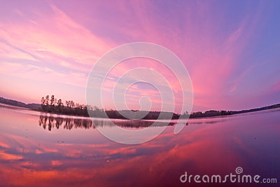 Lake landscape sunrise