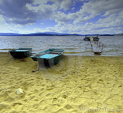 Free Lake Lipno In Czech Republic With Two Ferry Boat Royalty Free Stock Photo - 11854015
