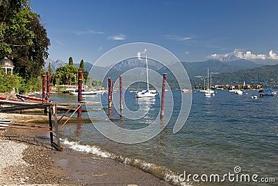 Lake maggiore shoreline, stressa, italy