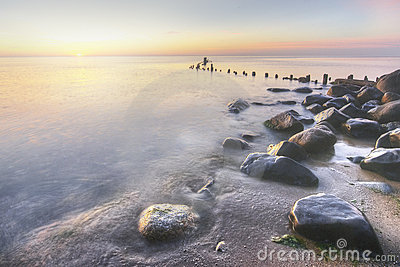 Lake Michigan Shore at Sunrise