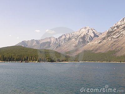 Lake Minnewanka in the Rocky Mountains in Canada