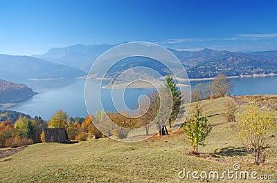 Lake and mountain in autumn