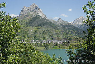 Lake and mountain in Tena valley, Pyrenees