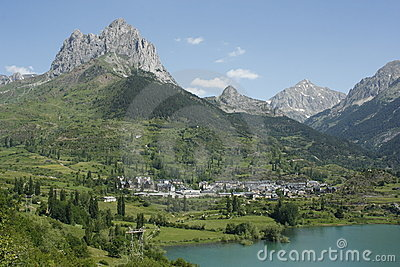 Lake and mountain in Tena valley, Sallent Pyrenees