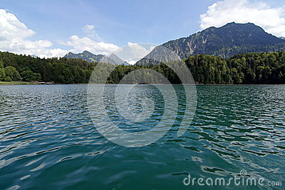 Lake with mountains behind
