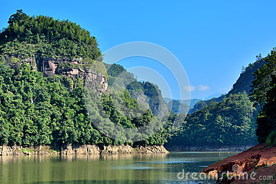 Lake and mountains landscape, Taining, Fujian, China
