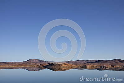 Lake with mountains and reflections, Ouarzazate