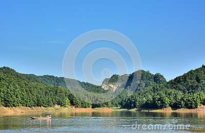 Lake among mountains in Taining, Fujian, China