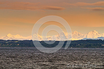 Lake Neuchatel and Alps