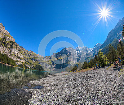 Lake Oeschinen Shoreline Editorial Photo