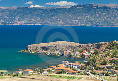Lake Ohrid coast with red roofed