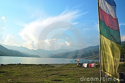 Lake Phewa with Prayer Flags