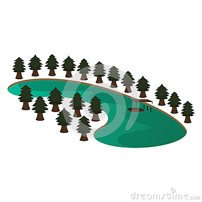 Lake and Pine Scene Vector Illustration