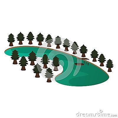 Lake and Pine Scene Vector Illustration