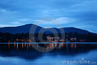 Lake Placid at night