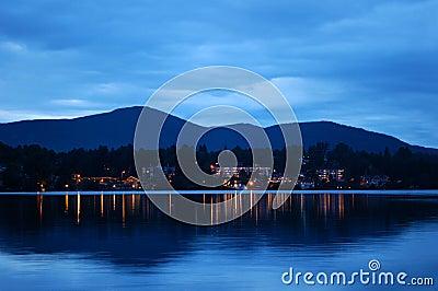 Lake Placid at night