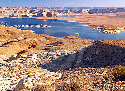 The Lake Powell in Glen Canyon