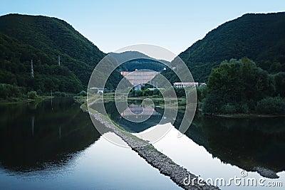 Hills and mountain lake