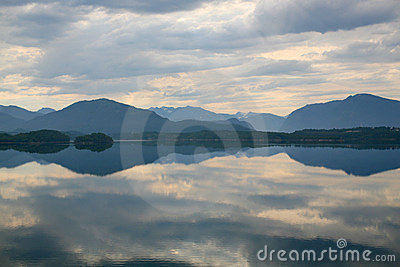 Lake with a reflection of the clouds