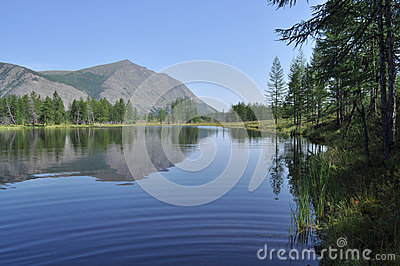 lake and reflections of the mountains
