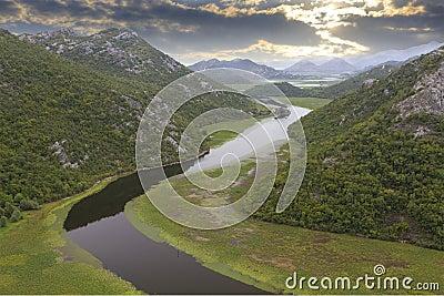 Lake skadar with boat in Montenegro