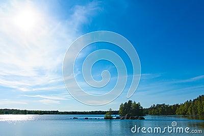 Lake in spring near Fliseryd, Sweden