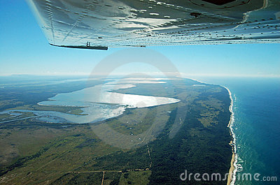 Lake St Lucia Estuary from the air