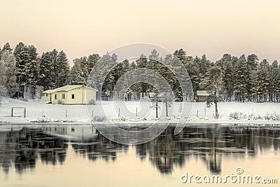 Lake at sunrise, nearby Inari, Finland
