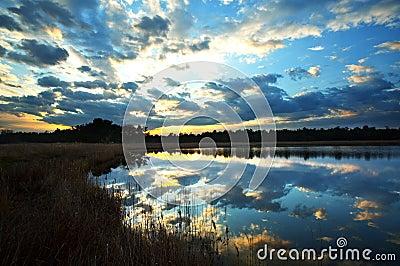 Lake on the sunset