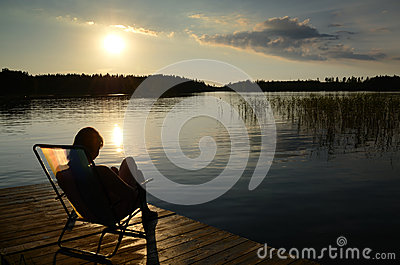 Lake sunset from deck chair