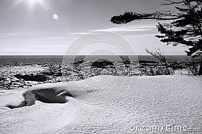 Lake Superior Winter B & W