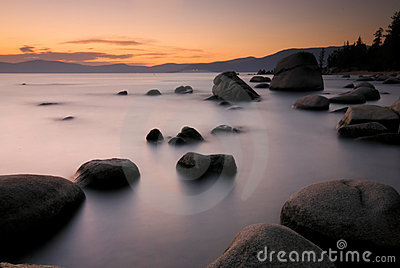 Lake Tahoe Rocks and Coast at Sunset