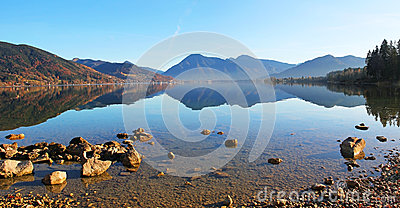 Lake tegernsee with water reflection