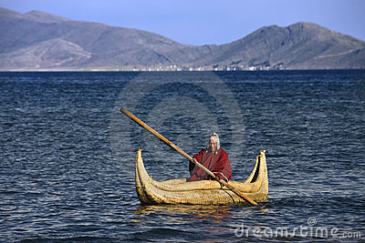 Lake Titicaca Reed Boat - Bolivia - South America Editorial Photo