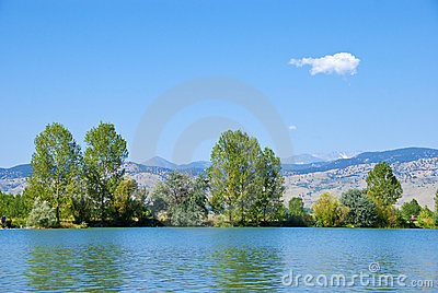Lake, Trees, Mountains and Wispy Cloud