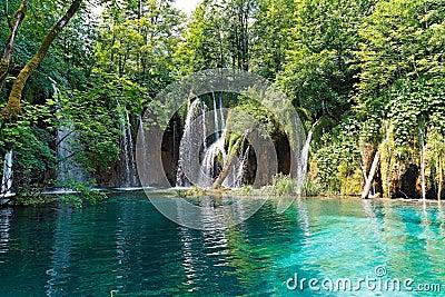 Lake and waterfalls in Croatia