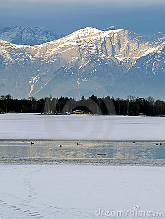 Lake Zell and Alps mountains