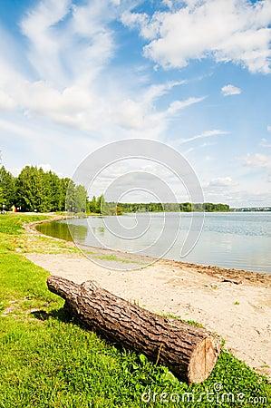 Lakeshore grassy banks