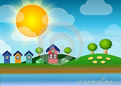 Lakeside homes Stock Photo